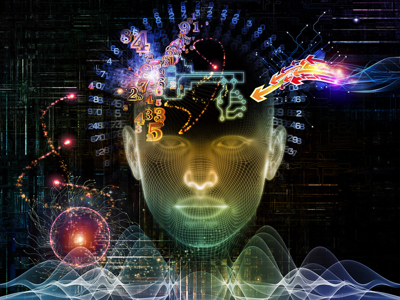 Composition of human head, key symbol and fractal design elements on the subject of encryption, security, digital communications, science and technology
